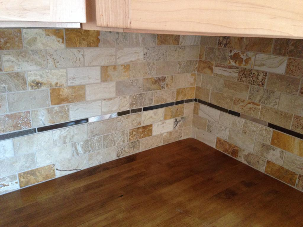Little Kitchen Island Travertine Tile Backsplash - 2 Cabinet Girls