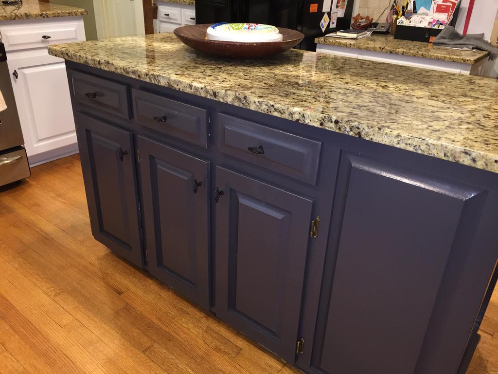 Gray Kitchen Island Gray Cloud Cabinets & Sherwin Williams Caviar Island - 2