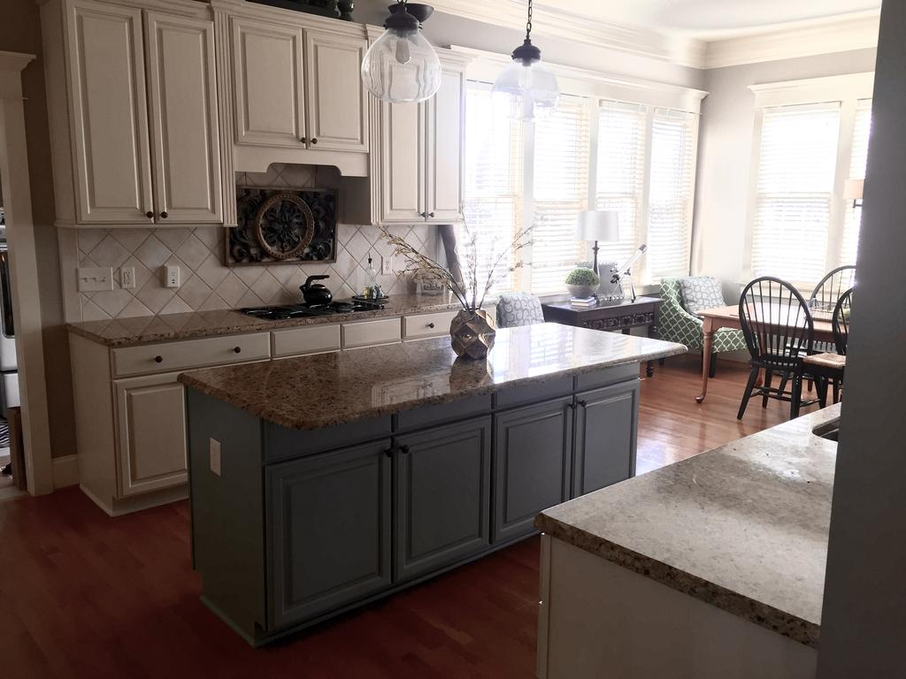 Island In Kitchen Or Not Sherwin Williams Antique White And Province Blue - 2