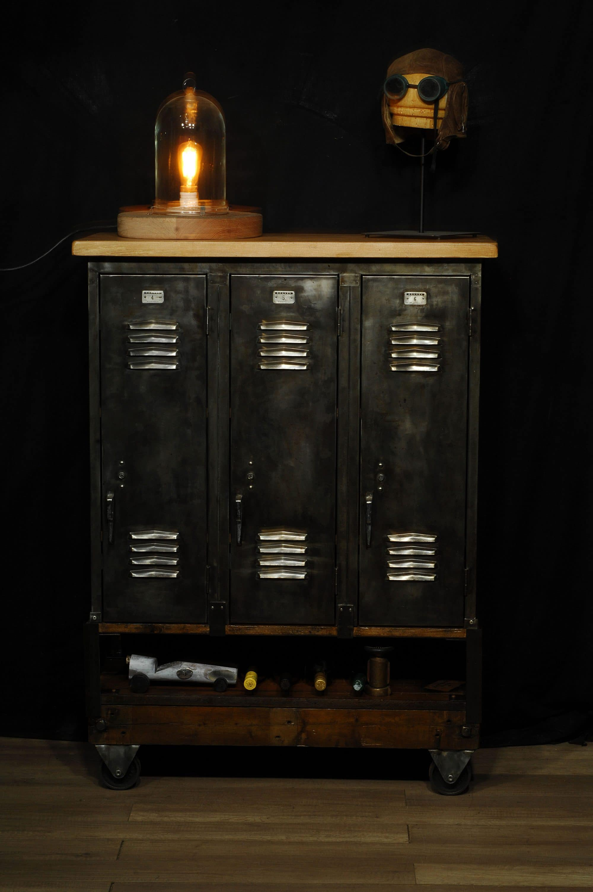 Meuble Bois Metal Industriel Casier Industriel De Rangement Avec Tablette Industrial Locker Storage Unit 2 Chance Deco