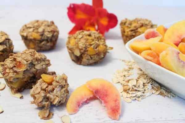 Peach Almond Oatmea Muffins bite | 2 Cookin Mamas