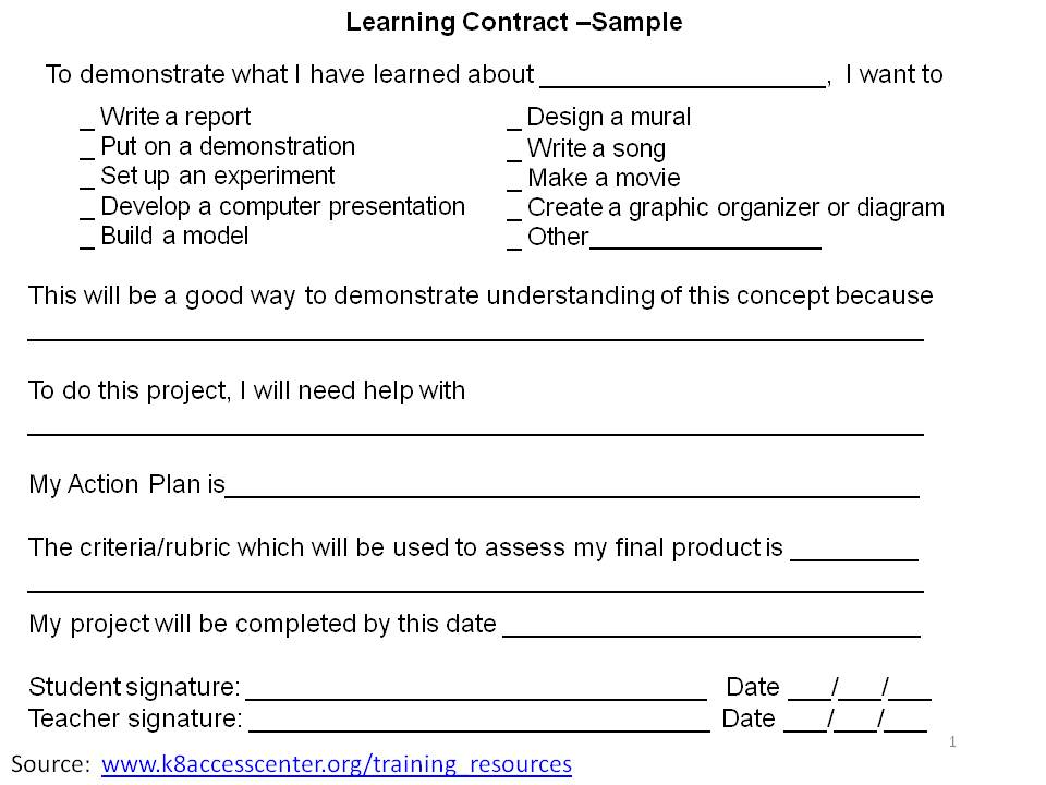 2differentiate / Learning Contract - Student Contract Templates