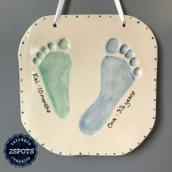 Clay Imprint Brother & Sister Footprints Mid green & mid blue