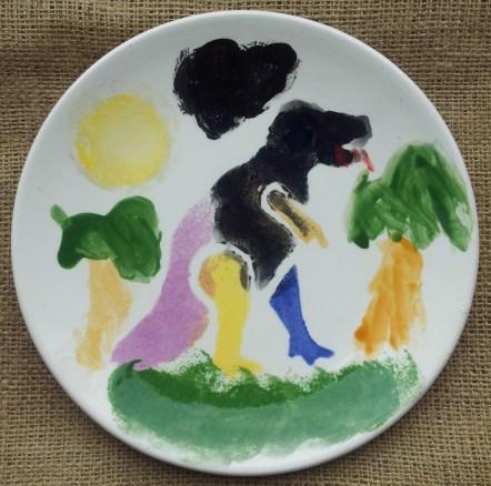 Dinosaur Stencilled Plate