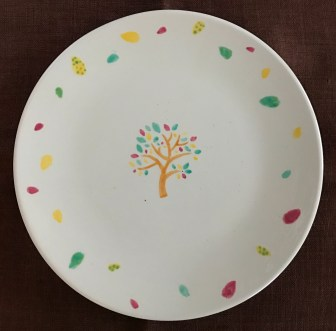 ladies night stencilled & painted plate