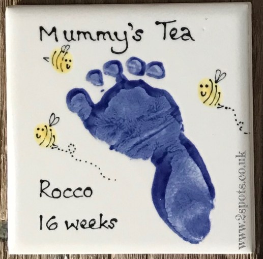Footprint Coaster with Toeprint Bees