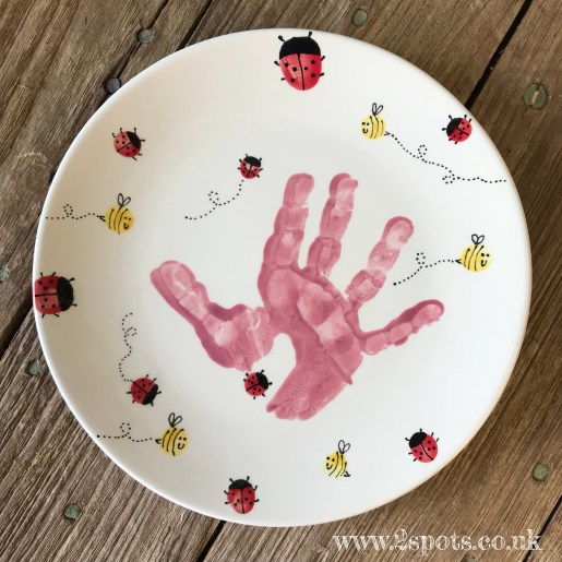 Handprint Plate with Fingerprint Bees and Ladybirds