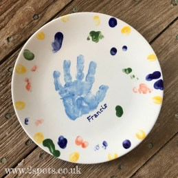 Handprint Plate with Freehand Fingerprints