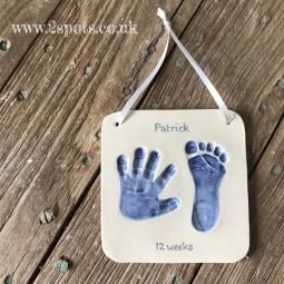 Clay imprint in dark blue