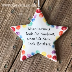 Rainbow quote star with toeprints
