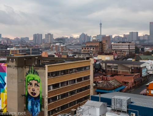 View of the Joburg skyline from the roof of Bjala Square in Jeppestown.