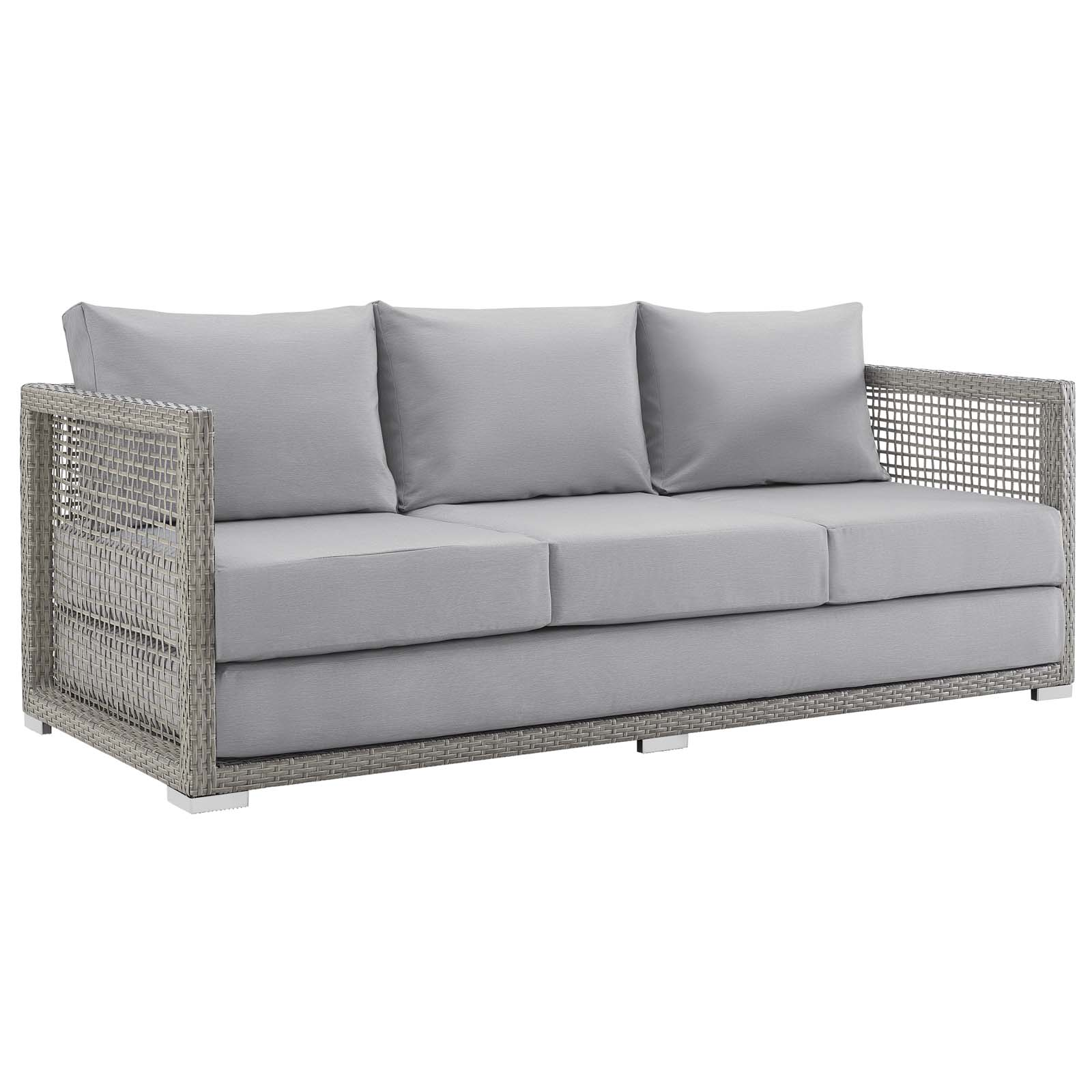 Open Weave Rattan Sofa Mid Century Aura Patio Wicker Rattan Sofa In Gray By Modway Seven