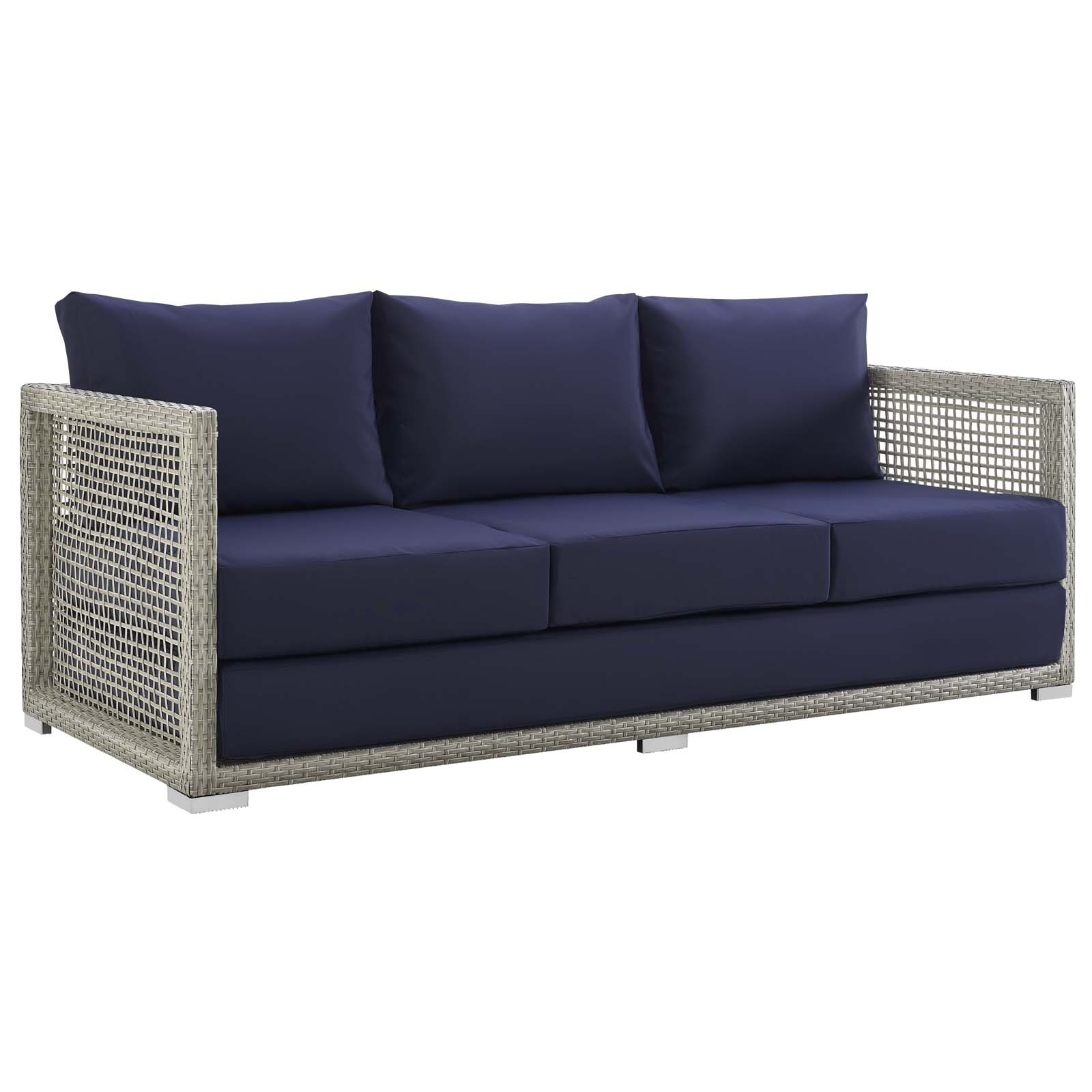 Rattan Sofa Aura Patio Wicker Rattan Sofa In Gray And Navy By Modway