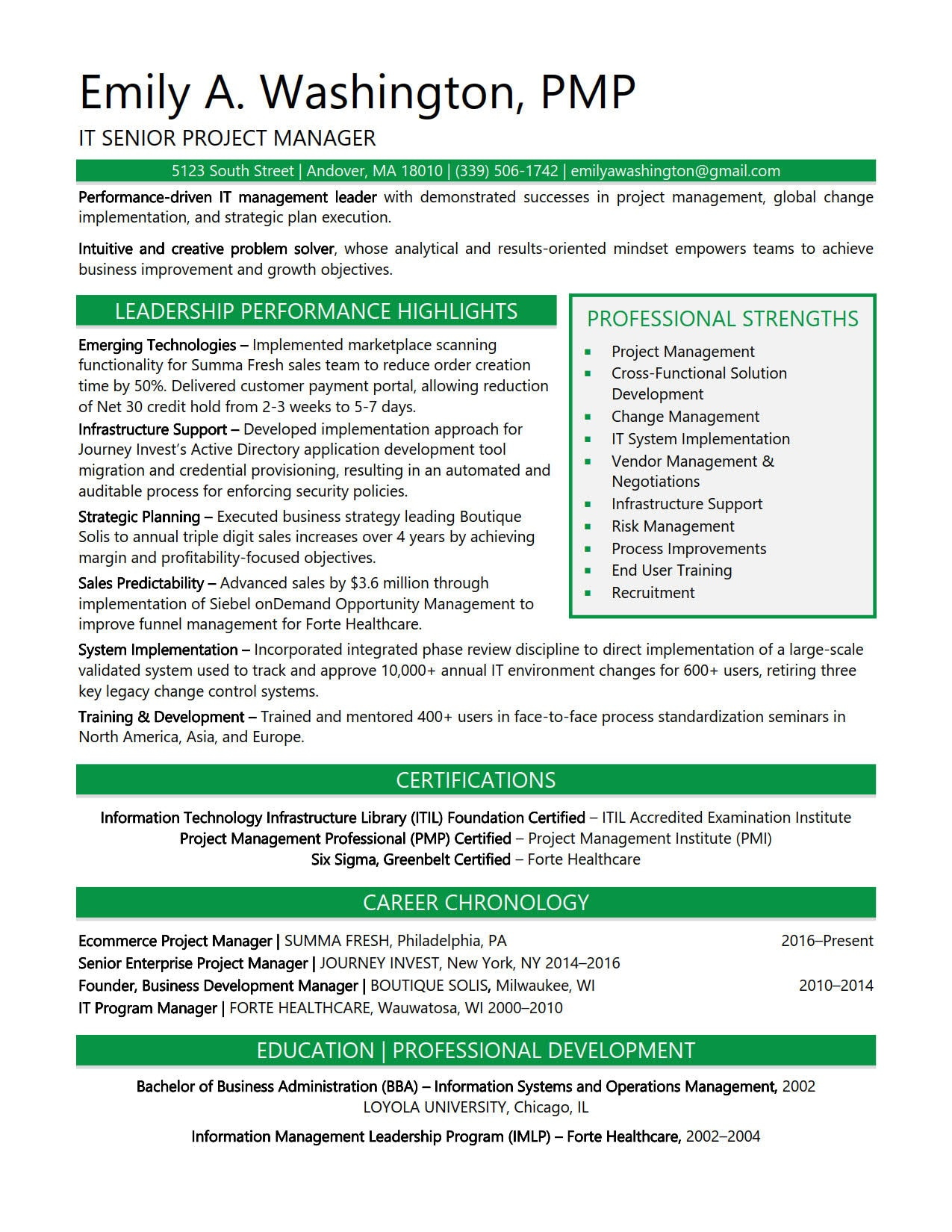 sample resumes for facilities