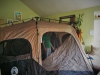 Coleman Tent in Living Room Camping practice - 2 Travel Dads