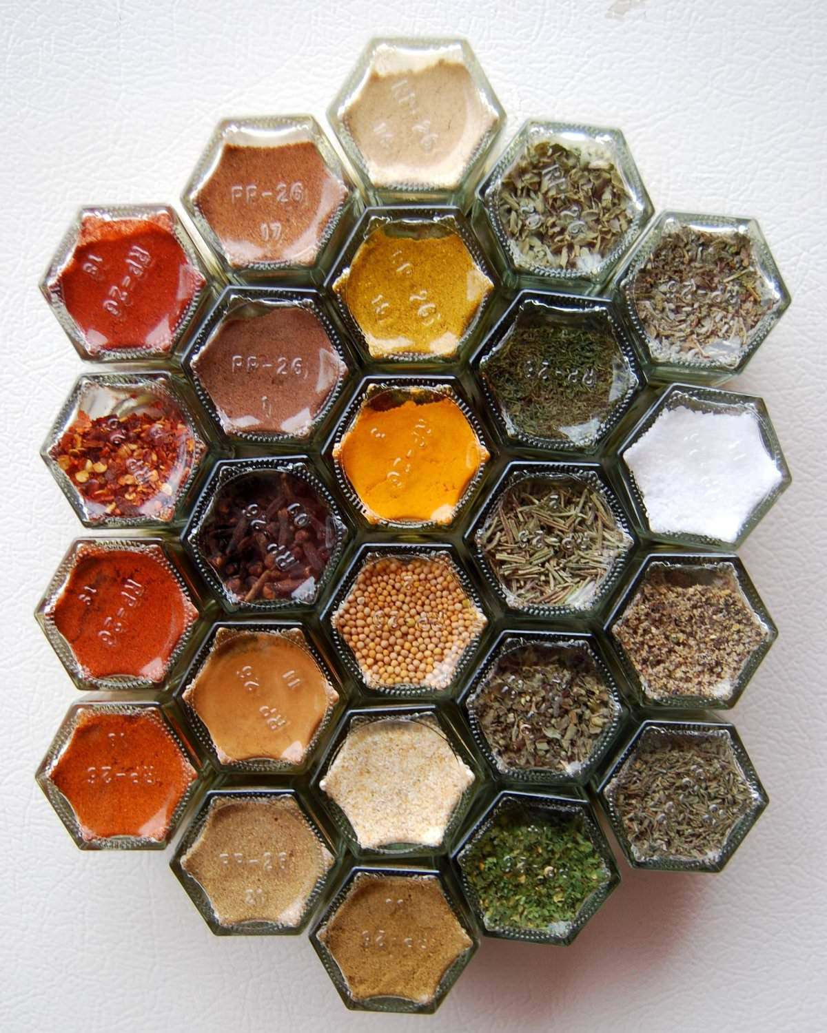 Hexagonal Glass Jars Spice Rack Filled With 24 Essential