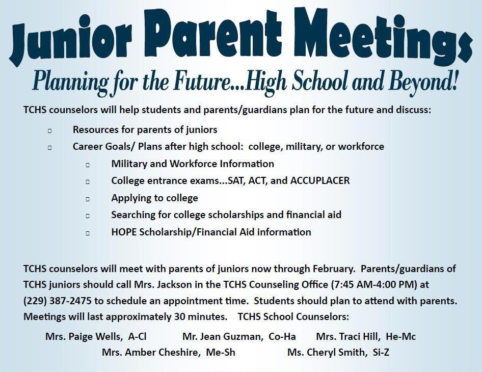 Junior Parent Meeting \u2013 Counseling/Guidance Office \u2013 Tift County