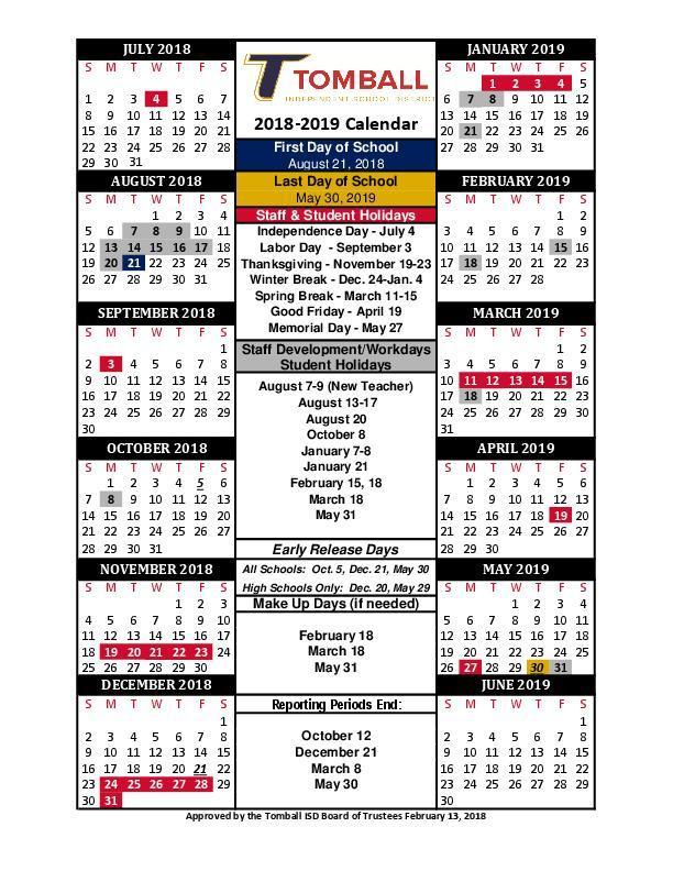 2018-2019 School Calendar \u2013 Kristi Budd \u2013 Timber Creek Elementary School