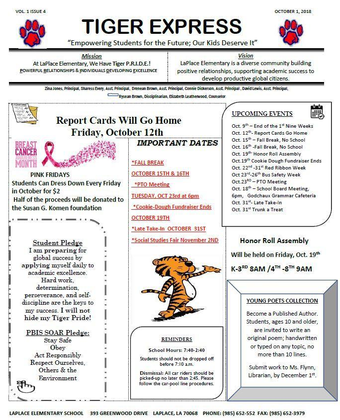 Tiger Express Newsletter \u2013 Parents \u2013 LaPlace Elementary School
