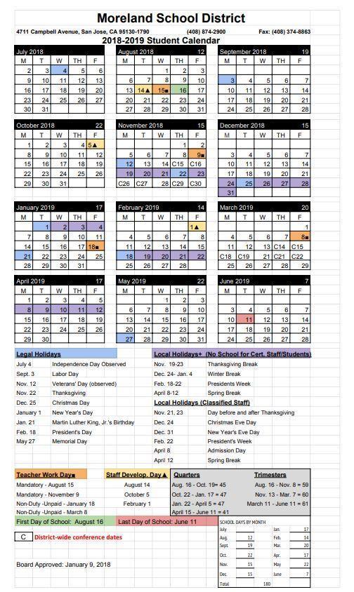 Student Calendars \u2013 News  Events \u2013 Moreland School District