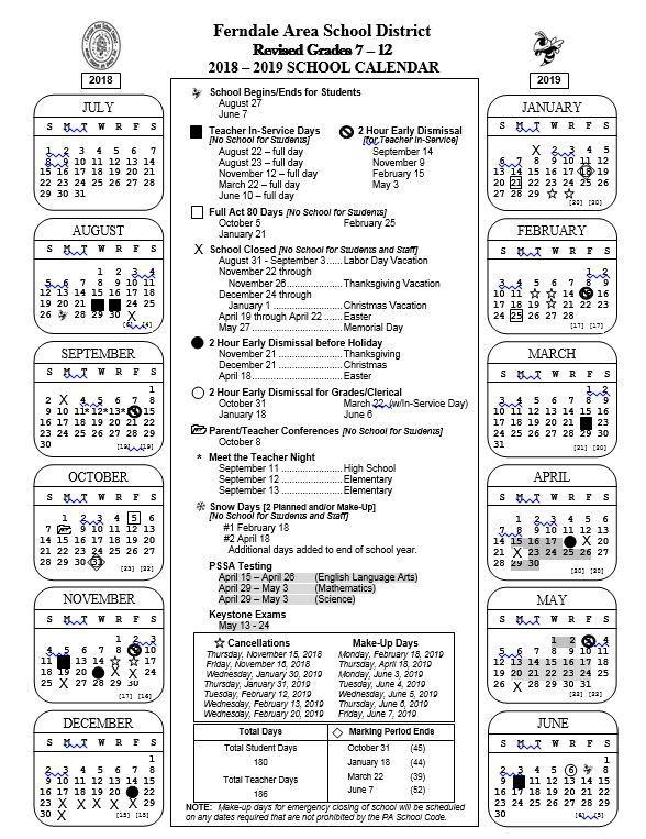 Academic Calendars \u2013 District \u2013 Ferndale Area SD