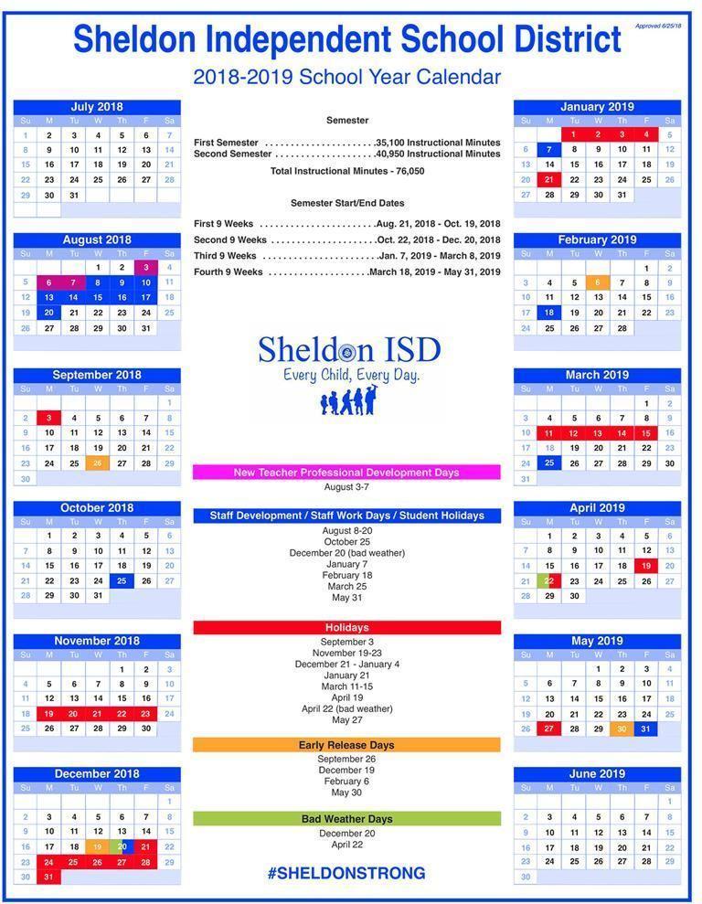 School Year Calendar \u2013 School Year Calendar \u2013 Sheldon ISD
