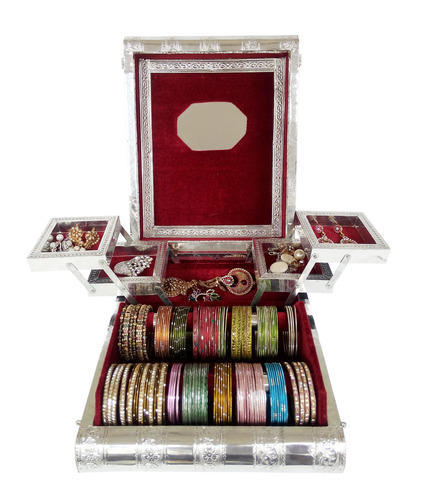 Silver Finish Big Premium Jewelry Box - 4 Trays and 2 Rolls at Rs