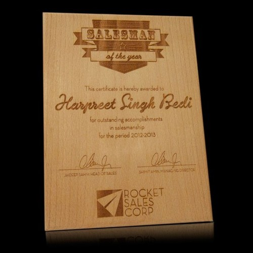 Salesman Of The Year Award Plaque - Wooden Engraved - Craftby