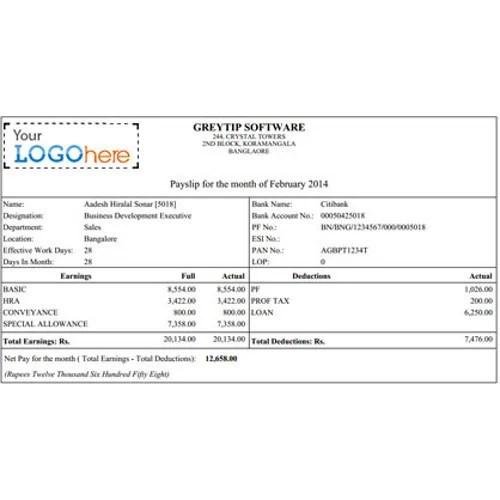 Salary Slips Payroll Services in Chennai, Choolaimedu by Greytip - payroll slip