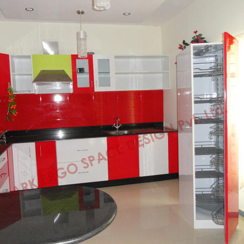 Modular Kitchen Design Red And White Red And White Modular Kitchen Cabinets, Rs 100000 /unit