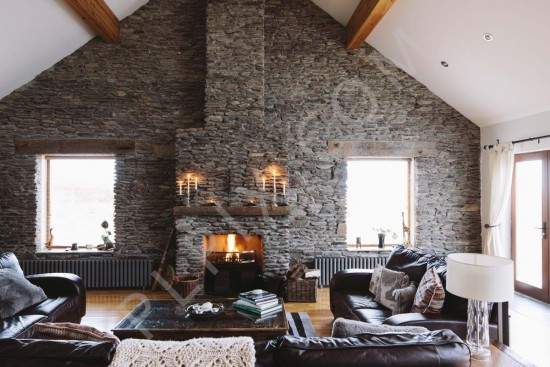 Open Master Bedroom And Bathroom Ideas House With Stone Wall In The Living Room | Interior