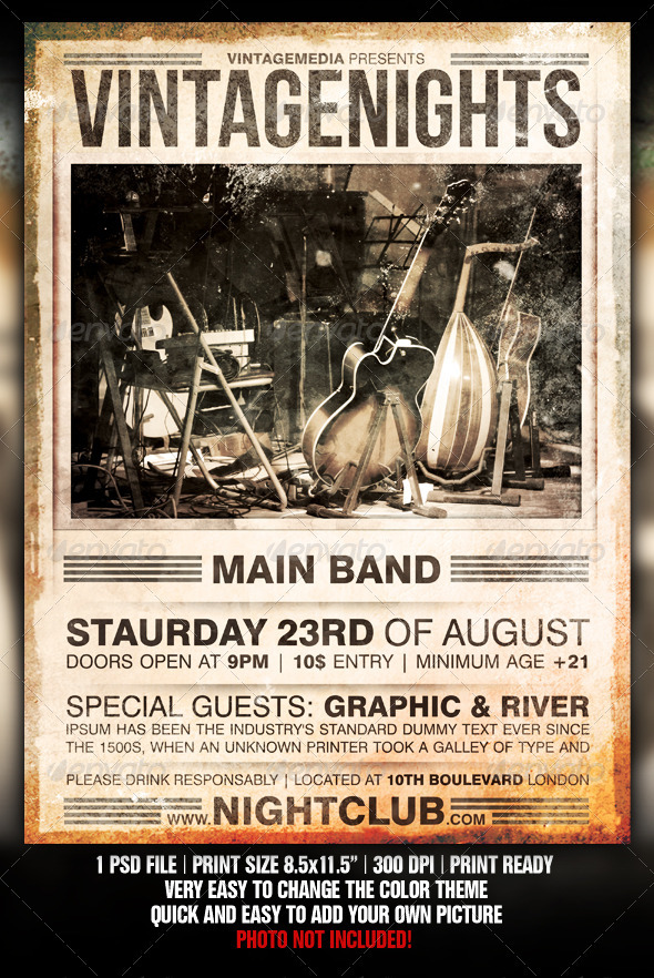vintage concert poster template free - music flyer template