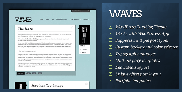01 waves banner.  large preview 10 Great Tumblr Style Themes for Wordpress