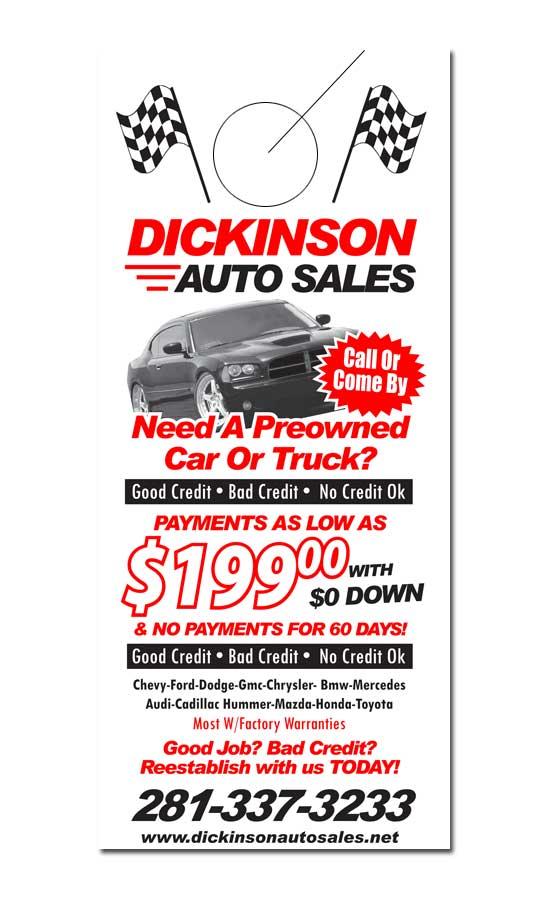 Auto Sales Door Hanger Samples - samples auto sales