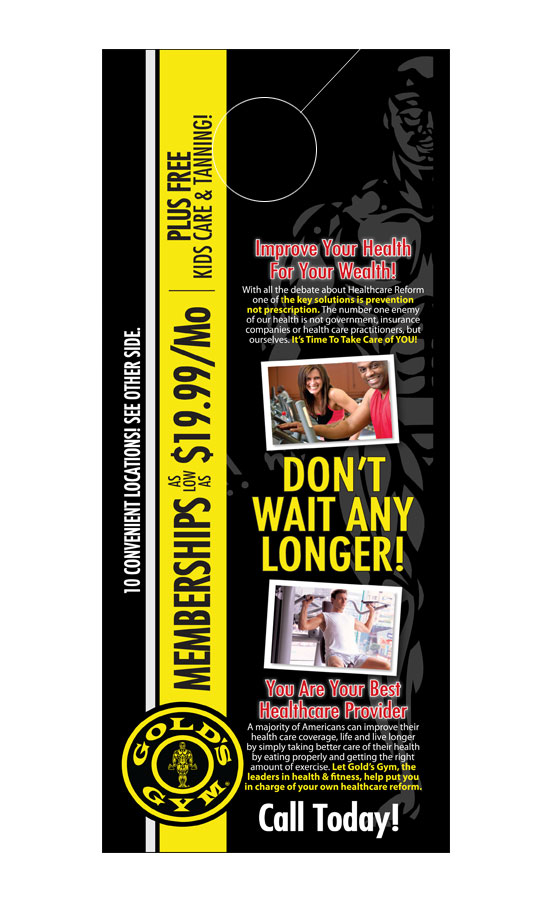 Health  Fitness Door Hanger Samples