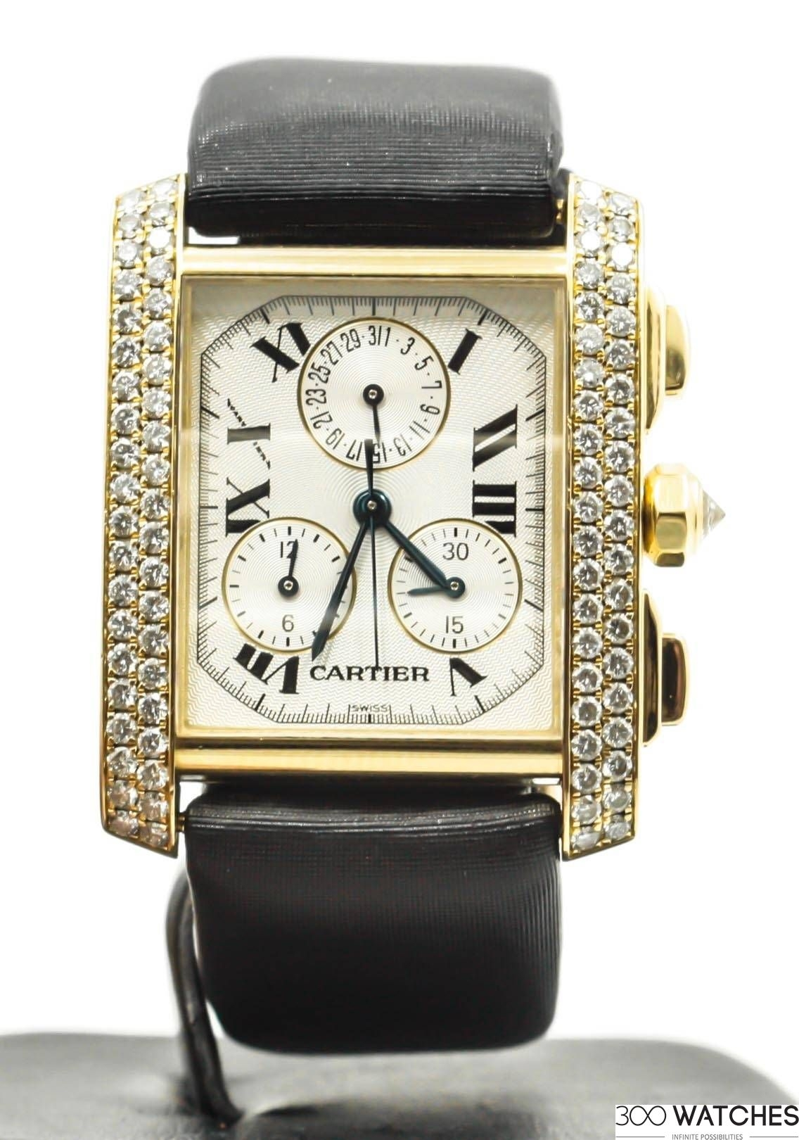 Cartier Watches Cartier Tank Francaise 1830 Chronograph 18k Yellow Gold Quartz Watch