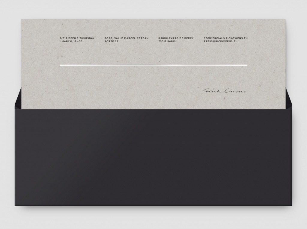 RICK OWENS SHOW INVITATIONS Invites Pinterest Rick owens - formal business invitation