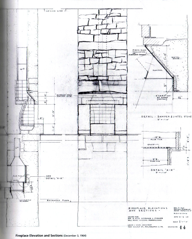 Fireplace construction drawing of Norman Fisher House (1964 - how to write a bill for services rendered
