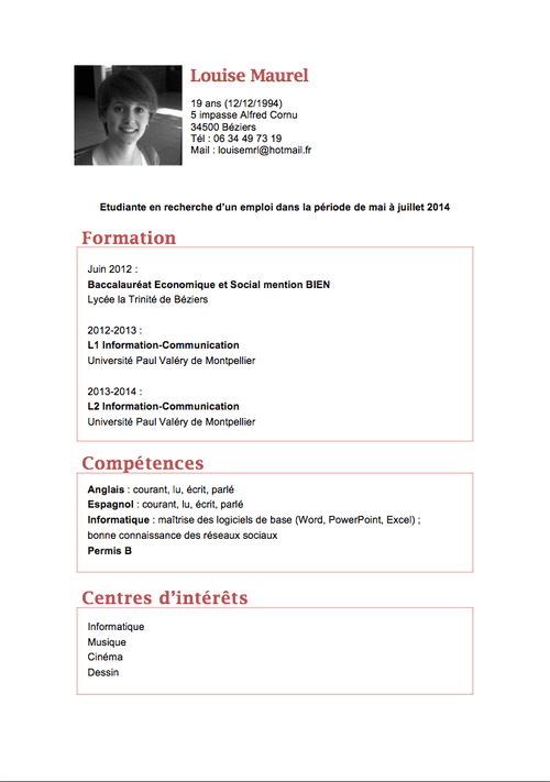 couleurs cv categorie professionnelle