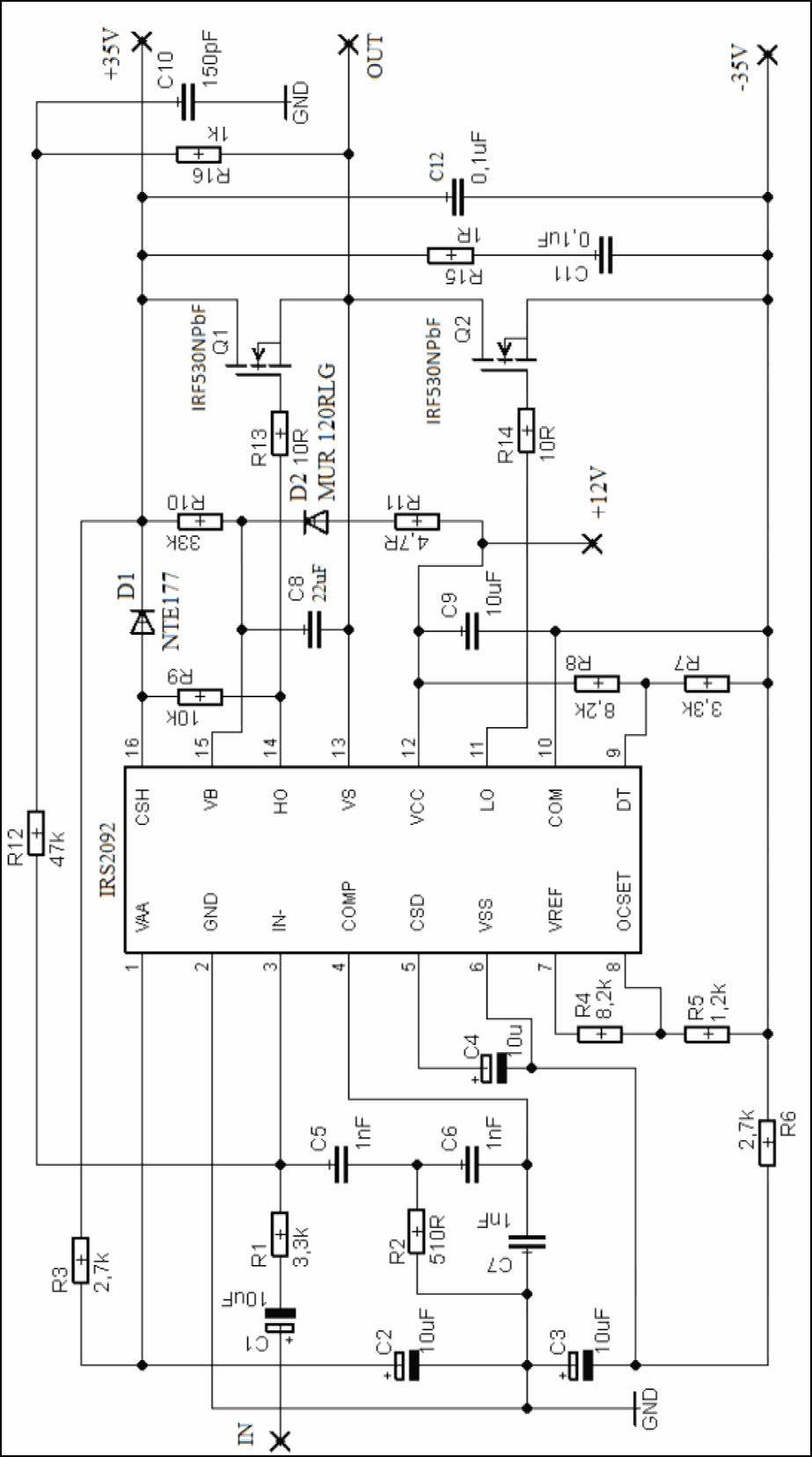 schematic diagram amplifier class d