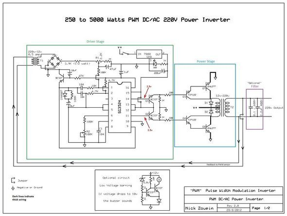 250W 5000W SG3524 DC AC Inverter Circuit - Electronics Projects Circuits
