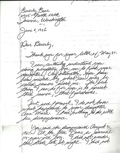 Ted Bundy letter to the mother of Anne Marie Burr u2026 Pinteresu2026 - interview thank you letters sample