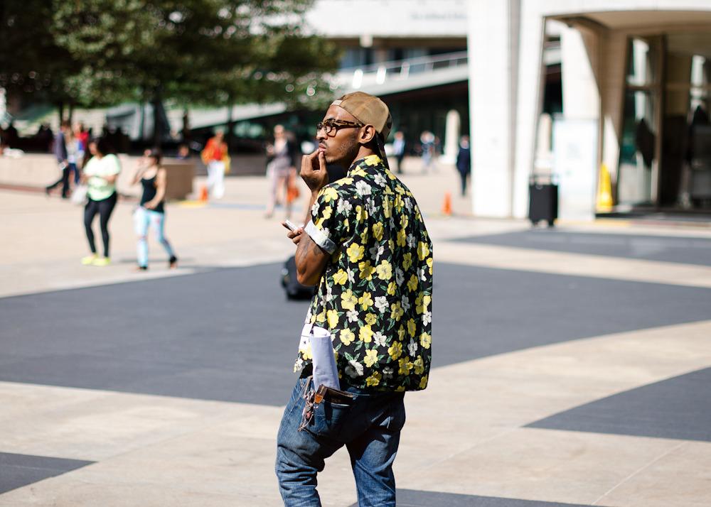 Flower power.Similar look: Comme des Garcons Shirt Hawaiian Pattern Shirt.