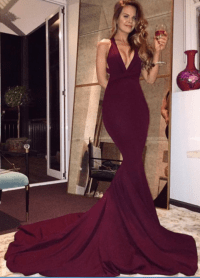 Sexy Burgundy Mermaid Long Prom Dresses ,Sexy Maroon Prom ...