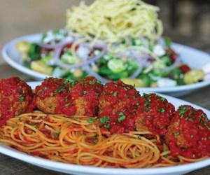 Menu Monday - Pinstripes Bottomless Spaghetti and Chop Salad - Featured