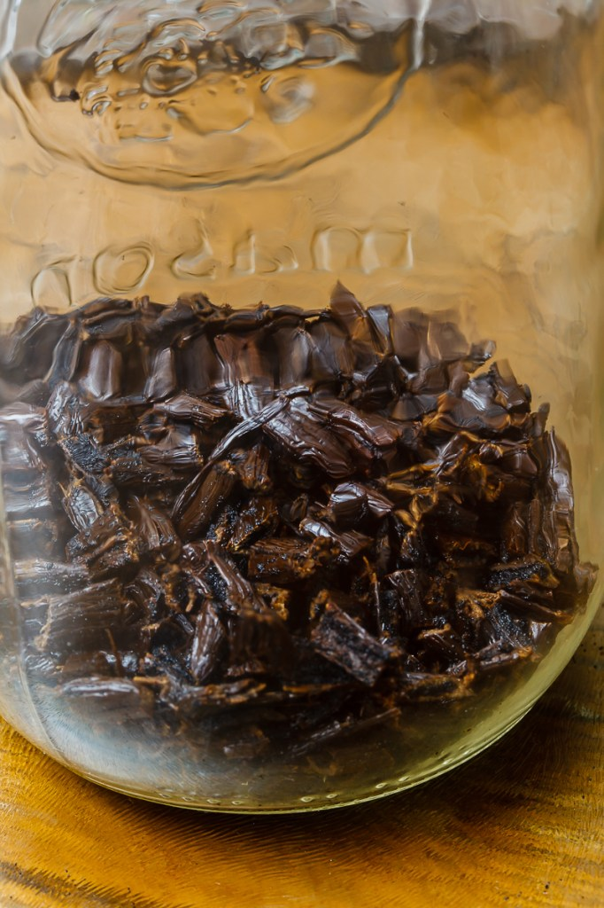 Cut Vanilla Beans in a Glass Jar