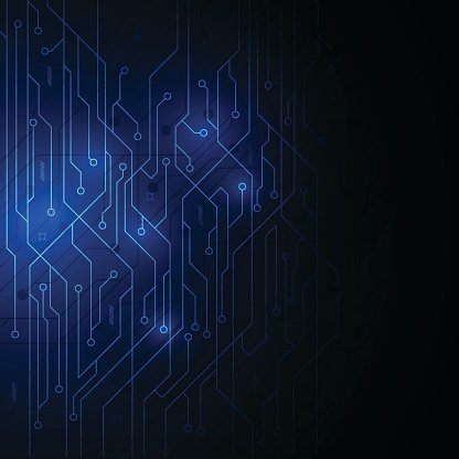 Abstract Blue Circuit Digital Technology Backdrop Design Background