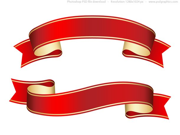Free Curled red ribbon (banner), PSD template PSD files, vectors