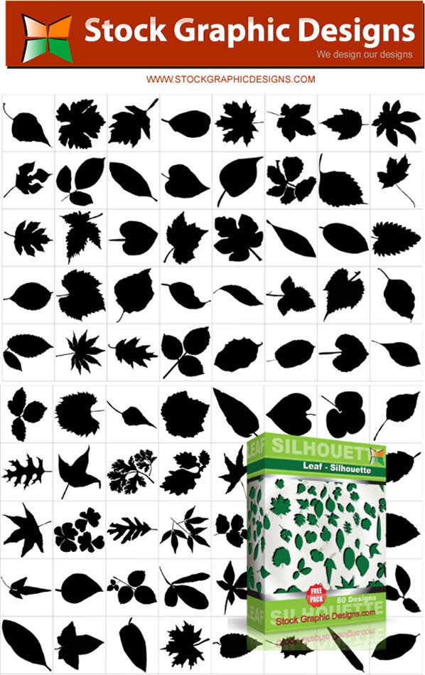 Free Leaf silhouettes free vector and photoshop brush pack PSD files