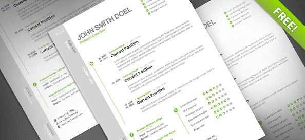 Free CV Resume Free PSD Template PSD files, vectors  graphics